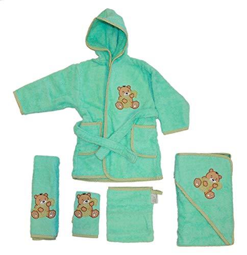 Baby Handtuch Set mit Bademantel Bären Motiv 5-tlg. 100% Baumwolle in versch. Farben, Farbe:mint