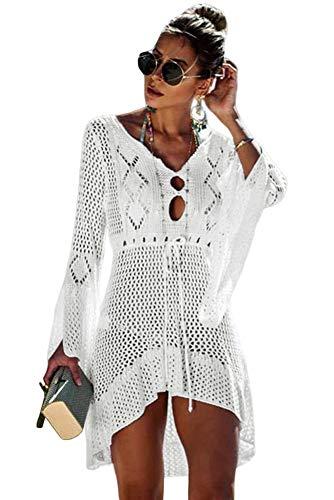 MAX MALL Damen Elegant Bikini Cover Up Boho Strandponcho Sommerkleid Bademode Gestrickte Strandkleid (Einheitsgröße, Weiß)