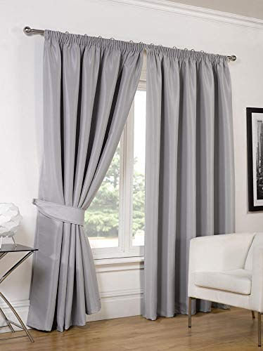 RAYYAN LINEN Thermal Pencil Pleat Blackout Tape Top Pair of Curtains With Free Tiebacks (46