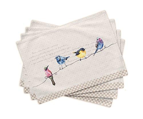 Maison d' Hermine Birdies on Wire 100% Baumwolle Set von 4 Tischset 33 cm x 48 cm