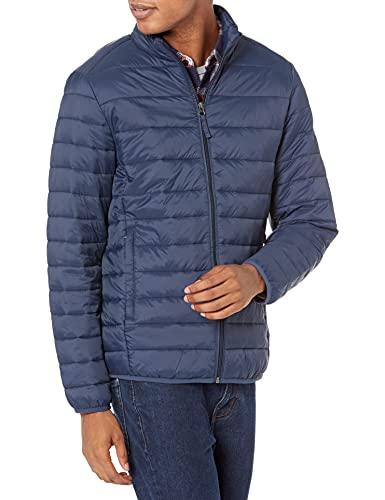 Amazon Essentials Men's Lightweight Water-Resistant Packable Puffer Jacket, Navy, Medium
