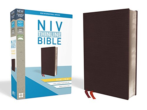 NIV, Thinline Bible, Giant Print, Bonded Leather, Burgundy, Red Letter, Thumb Indexed, Comfort Print