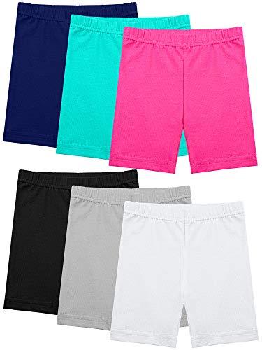 Ruisita 6 Stück Mädchen Tanz-Shorts, Fahrrad-Shorts, lange Shorts, atmungsaktiv und sicher - Schwarz - 24-36 Monate
