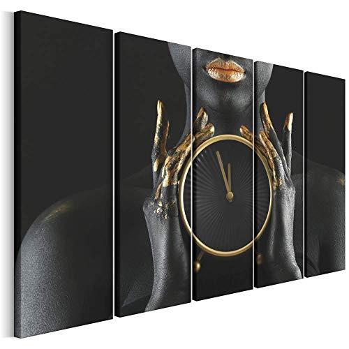 Revolio - Quadro su Tela - Stampa Artistica intelaiato Pronti da Appendere - Dipinto 5 Parti - XXL - Tipo C - Grandi Dimensioni: 250 x 120 cm - Donna Orologio Nero
