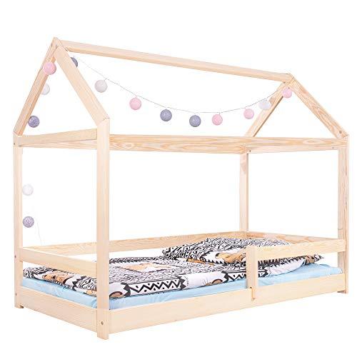 SPRINGOS Kinderbett|Haus-Optik Form|130x86x164 cm (HxBxL)|Massivholz|Rausfallschutz|Häuschenbett|Hausbett|Holzbett Natur|Bettchen für Kleinkinder|Kindermöbel