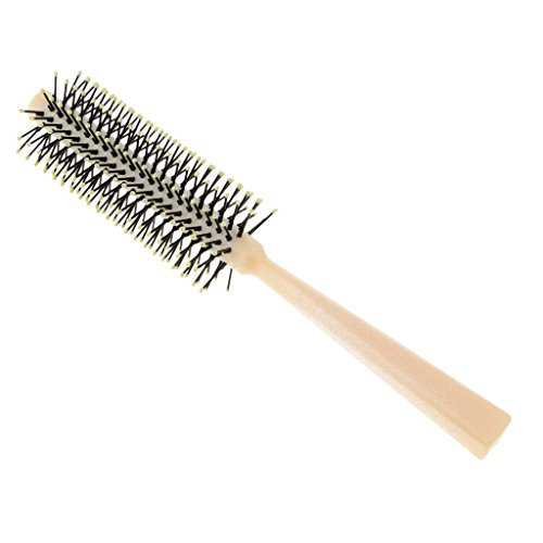 D DOLITY brosse à cheveux ronde poils nylon pour sèche-cheveux (10mm; 12mm; 15mm; 25mm) - Outil élégant de cheveux de qualité de salon profession pour Cheveux en bonne santé, soyeux, lisses - blanc