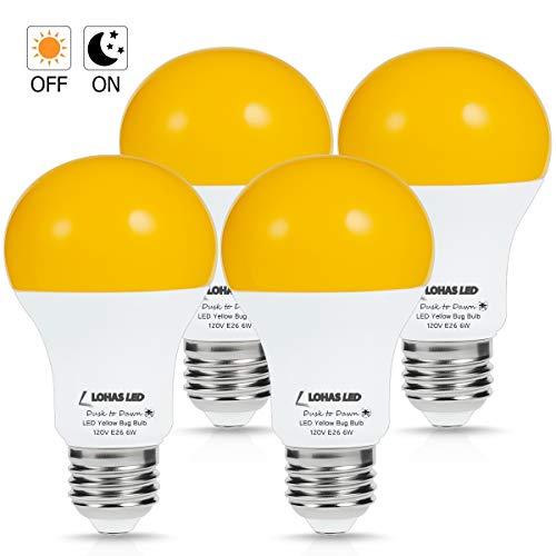 LOHAS Yellow LED Bug Light Bulb, Amber Yellow Bug Outdoor Porch Lights, A19 Dusk to Dawn Sensor Bug Light 40W Equivalent, E26 Security Auto On/Off LED Bulb, 500LM Yellow Bulbs for Bug Outdoor, 4Pack