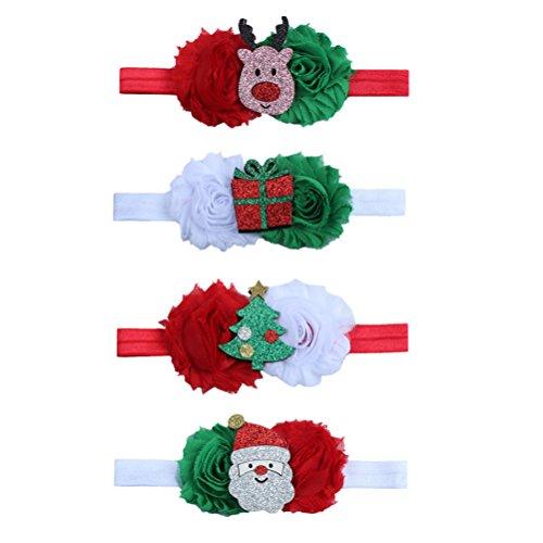 Tinksky Baby Weihnachten Bowknot Stirnband Glitter Haarband Kopfschmuck für Kinder Mädchen Kleinkind Weihnachten Cosplay Kostüm Party Haar Accessorie Band, Packung mit 4 (rot, weiß)