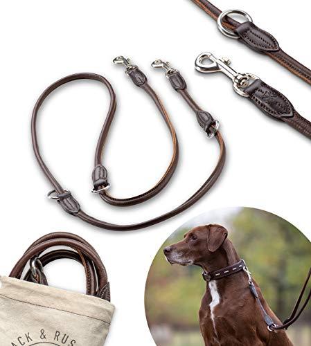 Jack & Russell Premium Leder Hundeleine Dora 2,0m - Hunde Leder Leine mit Karabiner - verstellbar Dora (Braun)