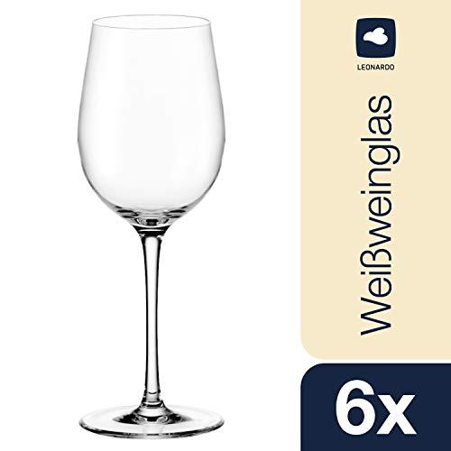 Leonardo Ciao+ Weißwein-Glas, Weißwein-Kelch mit gezogenem Stiel, spülmaschinenfeste Wein-Gläser, 6er Set, 300 ml, 061446
