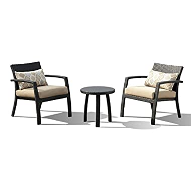 Lourde Living Gold Collection Panama 3 Piece Rattan Wicker and Aluminum Outdoor Patio Oversized Conversation Set, Brown