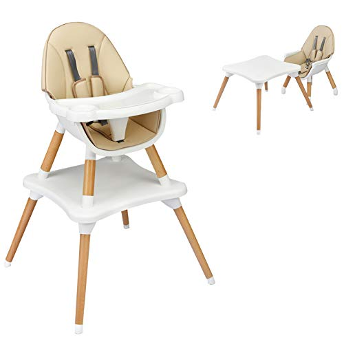 HONEY JOY Baby High Chair, 4-in-1 Convertible Wooden Highchair for Babies and Toddlers/ Table and Chair Set/ Booster Seat/ Toddler Chair with Safety...