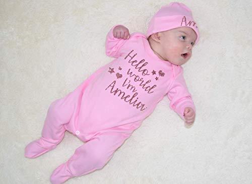 Personalised Hello World I'm Name Glitter Baby Romper Babygrow New Baby...