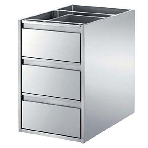 CASSETTIERA 3 CASSETTI in Acciaio Inox per Tavoli da Lavoro - profondità 40 & 60cm - Varie Misure - per cucine, Pizzerie, Ristoranti (40 X P57 X H51)