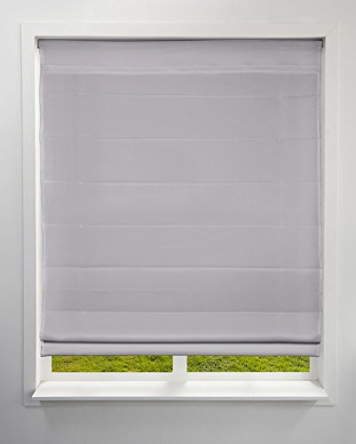 Arlo Blinds Light Filtering Fabric Roman Shades, Color: Grey, 22' W x 60' H, Cordless Lift Window Blinds