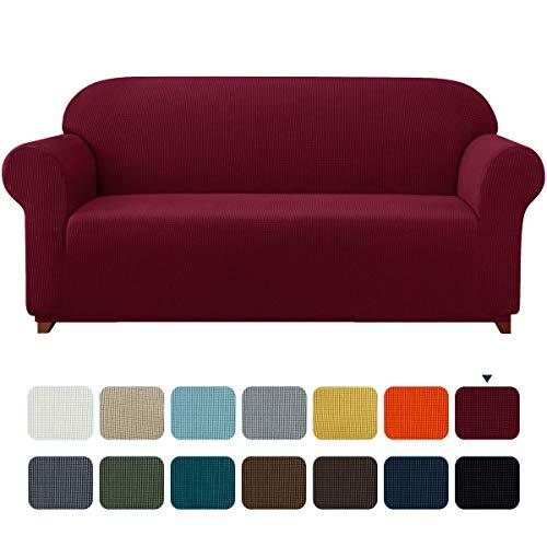 subrtex Spandex Sofabezug Stretch Sofahusse Couchbezug Sesselbezug Elastischer Antirutsch Stretchhusse Weich Stoff (2 Sitzer, Weinrot)