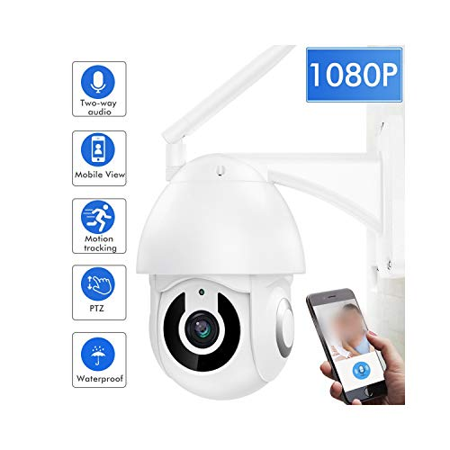 FZOON 1080P WiFi Camera Outdoor PTZ Speed Dome Wireless IP Security Camera Pan Tilt Zoom IR Two Way Audio Camera Exterior,Camera Add 64G Card,AU Plug