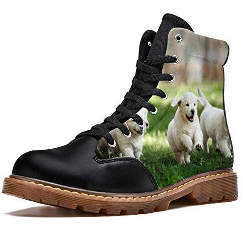 BENNIGIRY Running Dog On Glassland Botas de Invierno Zapatos clásicos de Lona de caña Alta para Mujer