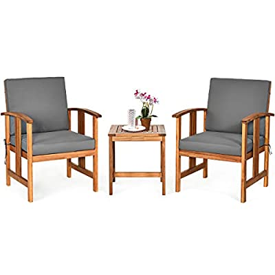 Tangkula 3-Piece Outdoor Acacia Wood Sofa Set w/Cushions, Padded Sectional Conversation Set Furniture Set w/Coffee Table for Garden, Backyard, Poolside, Living Room (Gray)