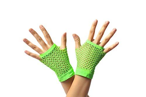 Dress Me Up - RH-005-green Handschuhe Netzhandschuhe Grün Neongrün fingerlos fingerfrei Netz kurz 80er Punk Rocker Wave Gothic Emo