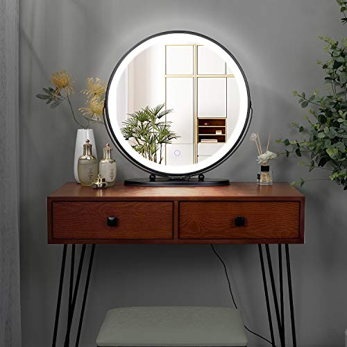 FREDEES Vanity Set with Lighted Mirror, 3-Color Touch Screen Dimmable Mirror, Additional Storage Organizer, Sturdy Steel Legs, Bedroom Makeup Dressing Table with Cushioned Stool (Cherry)