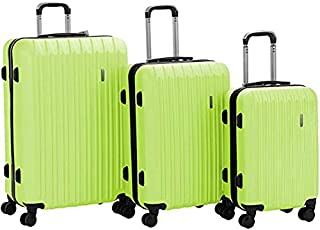 "Murtisol Travel 3 Pieces ABS Luggage Sets Hardside Spinner Lightweight Durable Spinner Suitcase 20"" 24"" 28"", 3PCS Green"