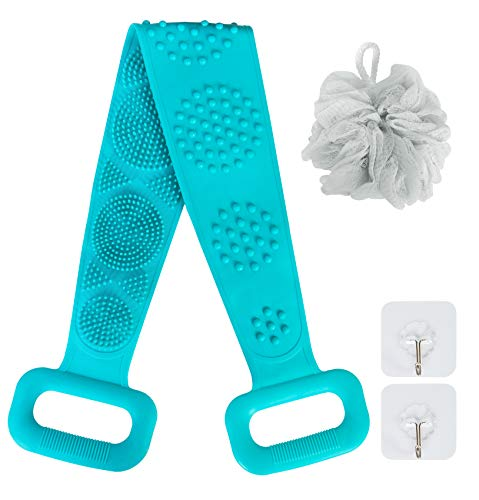 AFSTEE Silicone Back Scrubber for Shower, Bath Body Brush for Skin Exfoliation Double-sided Long Brush and Shower Loofah for Men Women