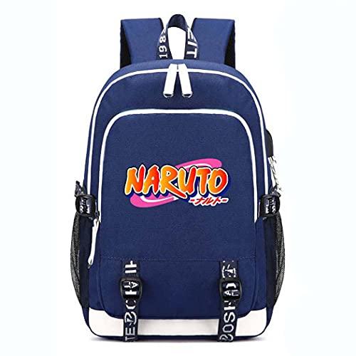 疾風伝NARUTOパターンランドセル 忍者大容量ショルダーバッグ PCノート収納バッグ カカシ USBケーブル ヘッドフォン穴付きバック (B)