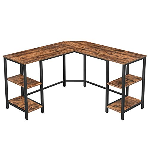 VASAGLE L-Shaped Computer Desk, Corner Desk with Storage for Home Office, 4 Shelves Writing Study Workstation, Industrial Style PC Laptop, Spacious Table Top, Rustic Brown and Black ULWD76X
