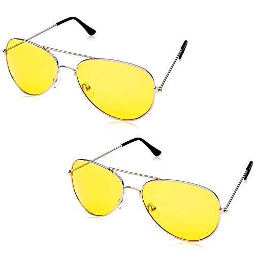 Night View NV Glasses Aviator - 2 Pack - Specially Coated Yellow Lenses Block Night-Time Glare and Great for Any Weather - 100% UVA and UVB Protection - Helps Eyestrain For Easy Vision for Driving