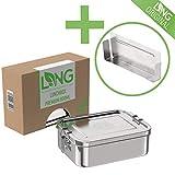 LNG Premium Brotdose 2.0 aus rostfreiem Edelstahl   Umweltfreundliche Bento, Lunchbox ohne Plastik & BPA   auslaufsicher & dicht   800ml