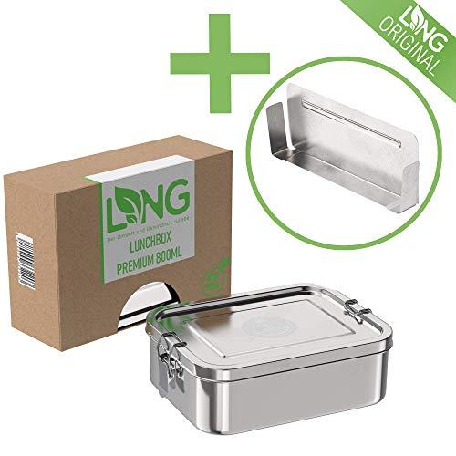 LNG Premium Brotdose 2.0 aus rostfreiem Edelstahl | Umweltfreundliche Bento, Lunchbox ohne Plastik & BPA | auslaufsicher & dicht | 800ml