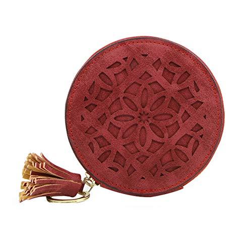 Tonpot Porte-Monnaie Pompon Multifonction Paquet de Carte Rond Vintage Pochettes à Monnaie avec Fermeture à Glissière pour Femme(Rouge