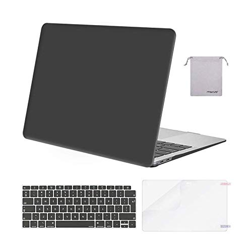 MOSISO Hülle Kompatibel mit 2020 2019 2018 MacBook Air 13 A2337 M1 A2179 A1932,Plastik Koffer&Tastaturschutz&Displayschutz&Lagertasche Kompatibel mit Mac Air 13,Space Grau
