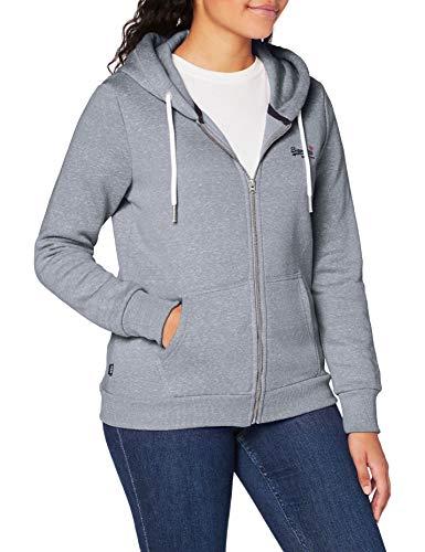 Superdry Womens ORANGE Label Zip Hood Cardigan Sweater, Grey Snowy, L (Herstellergröße:14)