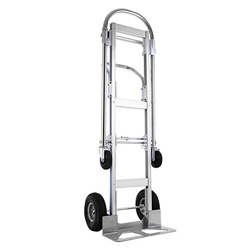 SHZOND Aluminum Hand Truck 2 in 1 Folding Hand Trucks 770LB Convertible Hand Truck and Dolly Utility Cart Heavy Duty with Flat Wheels
