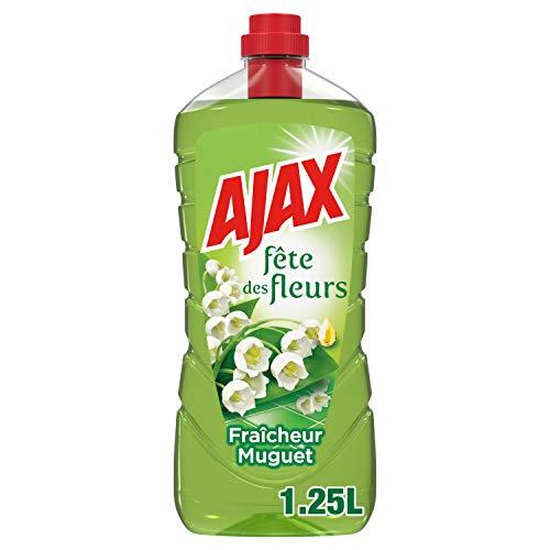 AJAX - Fête des fleurs Fraîcheur Muguet - Produit Ménager Sol & Multi Surfaces - À Utiliser Pur ou Dilué pour le Ménage de Toute la Maison - Sans Rinçage - Nouvelle Formule Écoresponsable - 1,25 L