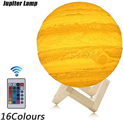 LED-Bewegungs-Sensor-Nachtlicht Fernbedienung Jupiter Licht 3D-Drucker, Umweltfreundliche PLA-Materialien, USB aufladbare Schreibtisch Tischlampe Startseite Schlafzimmer-Dekor-Geschenk for Freunde Fam