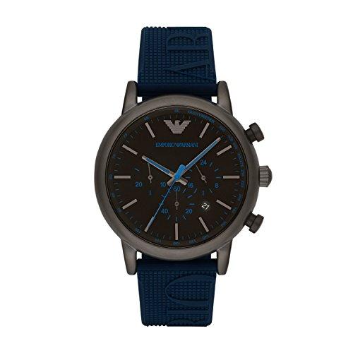 Emporio Armani Reloj Cronógrafo para Hombre de Cuarzo con Correa en Silicona AR11023, Azul