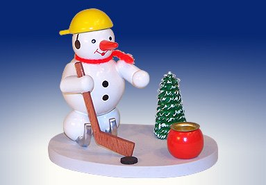 Candle holder snowman ice hockey player candle holder candle holders 8cm Ore Mountains NEW