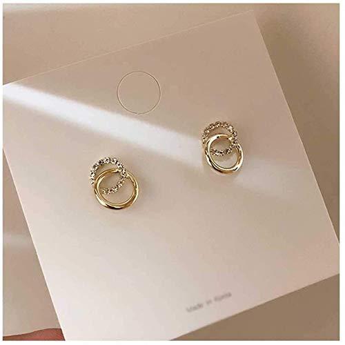 Nwihac Pendientes de Diamantes de imitación de Metal Dorado de círculo Doble Simple con Colgante de Regalo de joyería pequeña para Damas