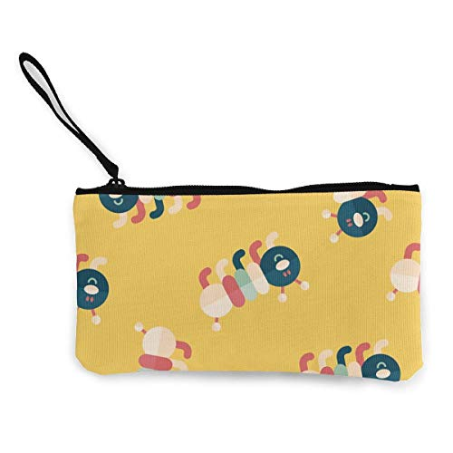 TTmom Damen Leinwand Geldbörse Portemonnaie Geldbeutel,Caterpillar Pattern Wallet Coin Purse Canvas Zipper Money Card for Travel