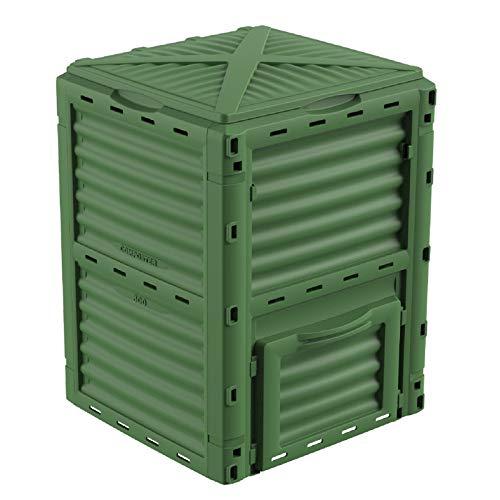 GARDIUN - Compostador New Organic 300 L 60x60x82 cm Polipropileno Reciclado y Resistente Verde con Apertura Superior, Ventilación y Fácil de Extraer el Compost