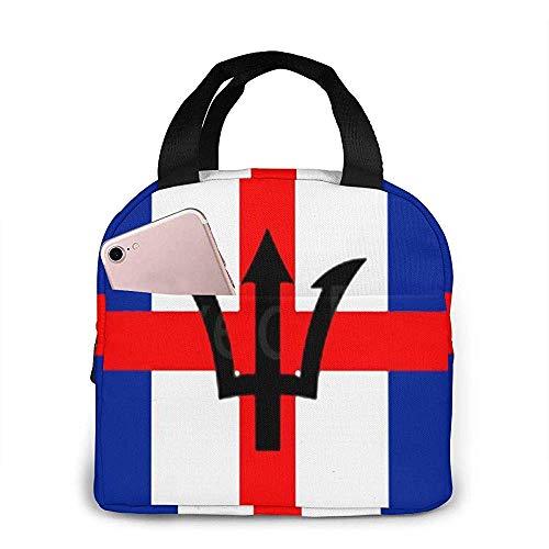 Gemischte England und Barbados Flagge Lunchpaket Einkaufstasche Lunchpaket Lunchpaket Isolierter Lunchbehälter