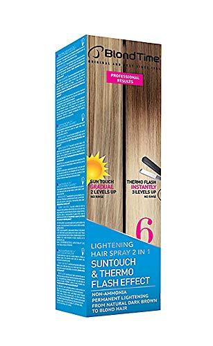 Suntouch & Thermo Flash Effect - Spray schiarente per capelli naturali da castano scuro a biondo, 200 ml