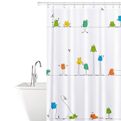 Tatkraft Funny Frogs | Duschvorhang bunt Cartoon Streifen Serie | Humorvoll-modernes Design | Wasserdicht schimmelfrei | Masse 180 x 180 cm | mit 12 Gratis Vorhangringen