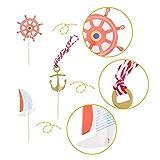 SUNBEAUTY 24er Set Maritime Torte Toppers Kuchendeckel Tortenaufsatz Dekoration Party Feier (24 Stück) - 7