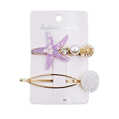 Messen 2 Pieces Starfish Shell Hair Clips Set Acrylic Resin Alligator Hair Clips Geometric Ellipse Hair Pins Accessories Barrettes Gold Bobby Pin for Hair Styling Jewelry (Purple and White,Style 19)
