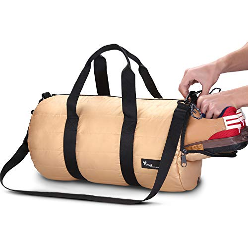 Voova 20L Foldable Gym Bag with Shoe Pocket Travel Outdoor Sport Duffel Luggage Shoulder Handbag Gold Water Resistant Polyester for Men Woman (Golden)