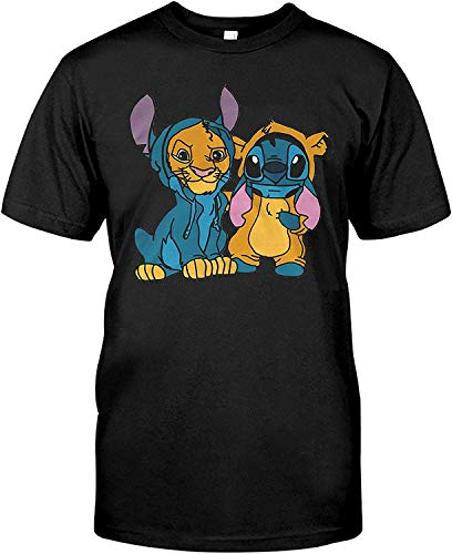 AKDesigns Leeuw met Stitch Leeuw Koning T Shirt Leeuw Knuffel Shirt